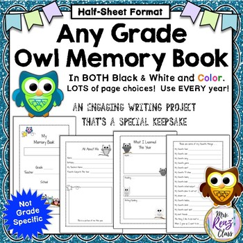 Memory Book for Any Grade - End of Year Owl Memory Book  (half page format)