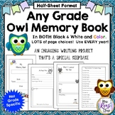 Memory Book for Any Grade - End of Year Owl Memory Book  (