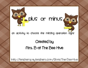 Owl Themed Missing Operation Signs Addition and Subtraction