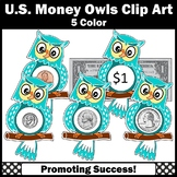 Owl Math Counting Money Clipart, US Coins Clip Art