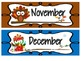 Owl Themed Monthly Calendar Labels and Numbers