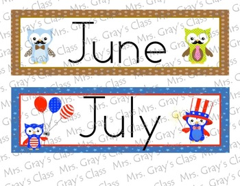 Owl Themed Monthly Header Cards