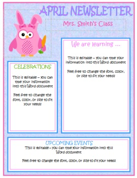 Owl Themed Monthly Newsletters - Editable