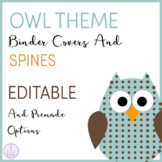 Owl Themed Music Teacher Binder Covers and Spines