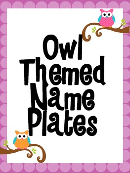 Owl Themed Name Plates