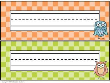 Owl Themed Name Plates- Classroom Decor