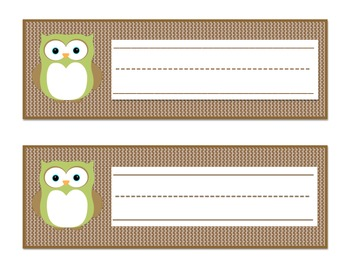 Owl Themed Name Tags (Light Green/Brown)