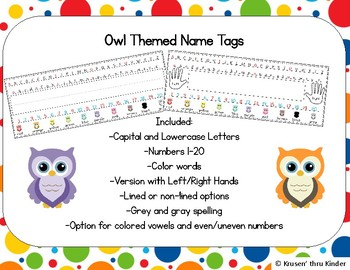 Owl Themed Name Tags