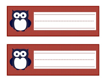 Owl Themed Name Tags (Navy Blue/Red)