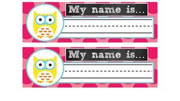 Owl Themed Name Tags - FREEBIE!