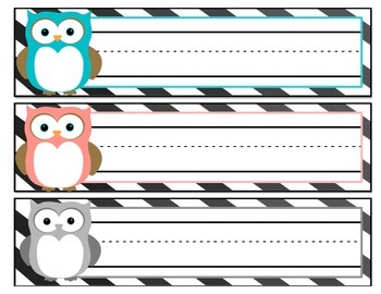 Owl Themed Name Tags {FREEBIE}