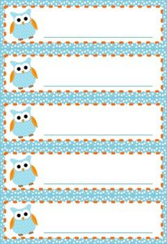 Owl Themed Name Tags Plates