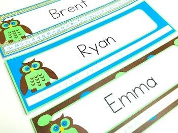 Owl Themed Name Tags for Desks