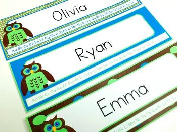 Owl Name Tags Editable