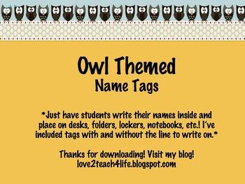 Owl Themed Name Tags1