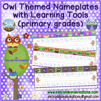 Owl Themed Nameplates with Learning Tools (primary grades)