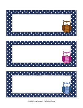 Owl Themed Nametags/Large Labels