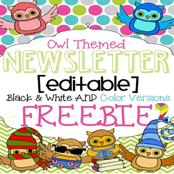 Owl Themed Newsletter Template FREEBIE {Black and White an