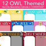 Owl Newsletter Templates  - 12 Editable Monthly Themes