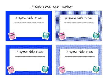 "Owl Themed ""Note from the Teacher"""