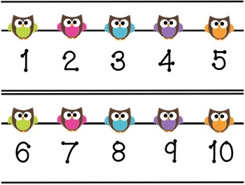 Owl Themed Number Line by Second Grade Discoveries | TpT