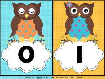 Owl Themed Number Poster Cards