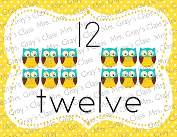 Owl Themed Number Posters 0-20