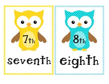 Owl Themed Number and Ordinal Number Posters