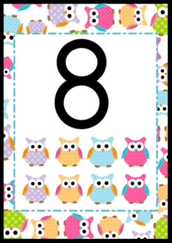 Owl Themed Numbers 0 to 20 Posters