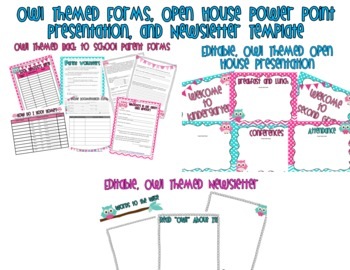 Owl Themed Open House Presentation, Newsletter, and Back t