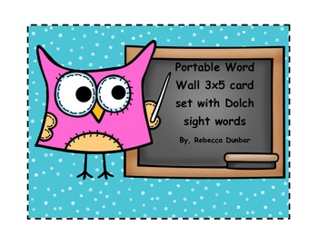 Owl Themed Portable Word Wall with Dolch Sight word Cards