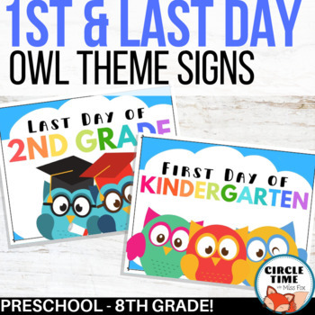 photo about Free Printable 1st Day of School Signs called Owl Themed, Printable 1st Working day of University Signs and symptoms 2019-2020 Preschool towards 8th quality