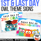 Owl Themed, Printable 1st Day of School Signs 2020-21, Preschool to 8th grade