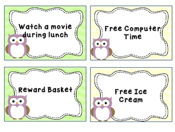 Owl Themed Reward Cards/Punch Cards