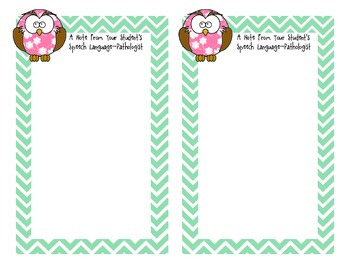 Owl Themed SLP Note Home