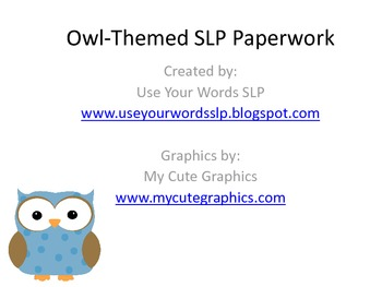 Owl-Themed SLP Paperwork