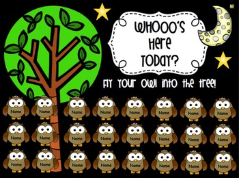 Owl Themed SMART Board Attendance FREEBIE