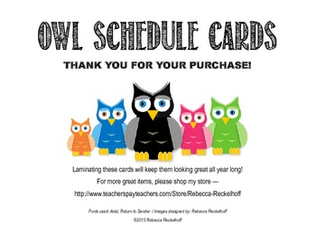 Owl-Themed Schedule Cards