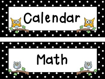 Owl Themed Schedule Cards & Labels and Daily Agenda Reminders Classroom Display