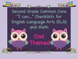 Owl Themed Second Grade Common Core Checklist English Language Arts & Math