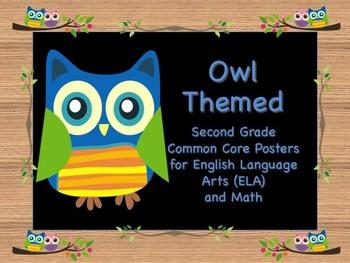 Owl Themed Second Grade Common Core Posters (ELA) Language Arts & Math