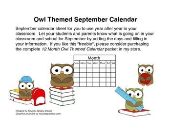 Owl Themed September Calendar