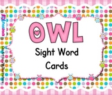 Owl Themed Sight Word Cards - FREE