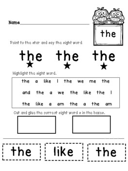 Owl Themed Sight Word Packet