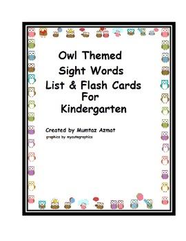 Owl Themed Sight words List&Flashcards For Kindergarten: