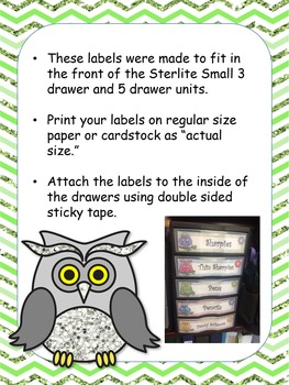Owl Themed Small Drawer labels