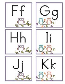 Owl Themed Spanish Alphabet cards