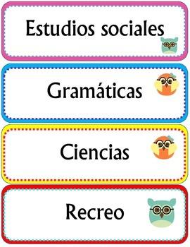 Owl Themed Spanish Schedule Cards / Tarjetas del horario con buhos
