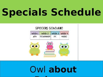 Owl Themed Specials Schedule