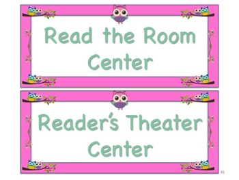 Owl Themed Station/Center Signs Whoooo Goes Where!?! Great Classroom Management!